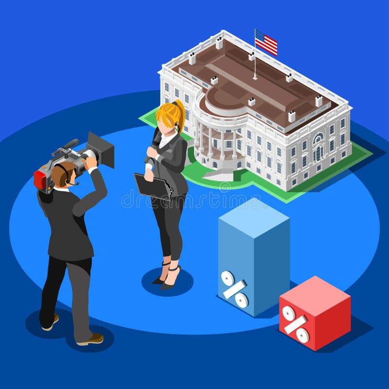Do vetor branco da casa de Infographic da notícia da eleição povos isométricos ilustração stock