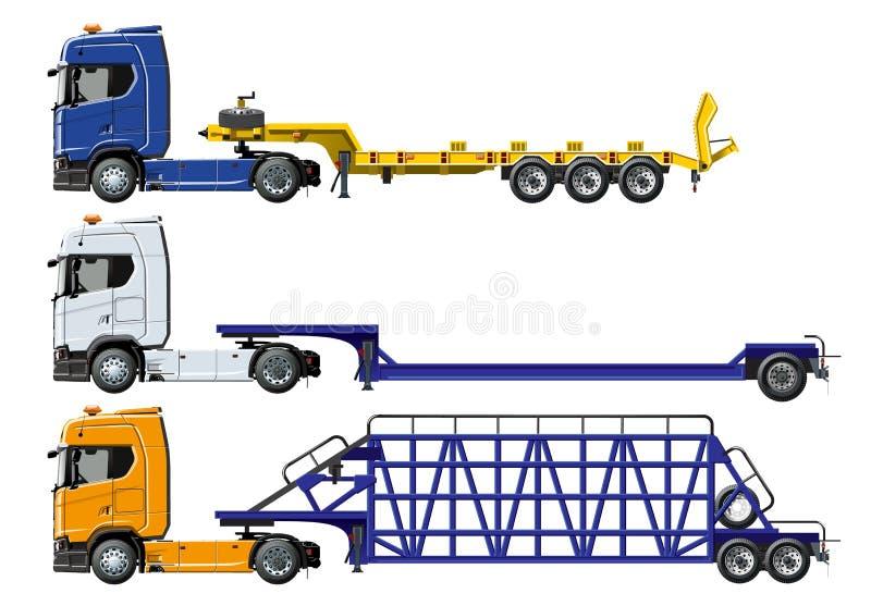 Do vetor caminhões semi ajustados isolados no branco ilustração do vetor