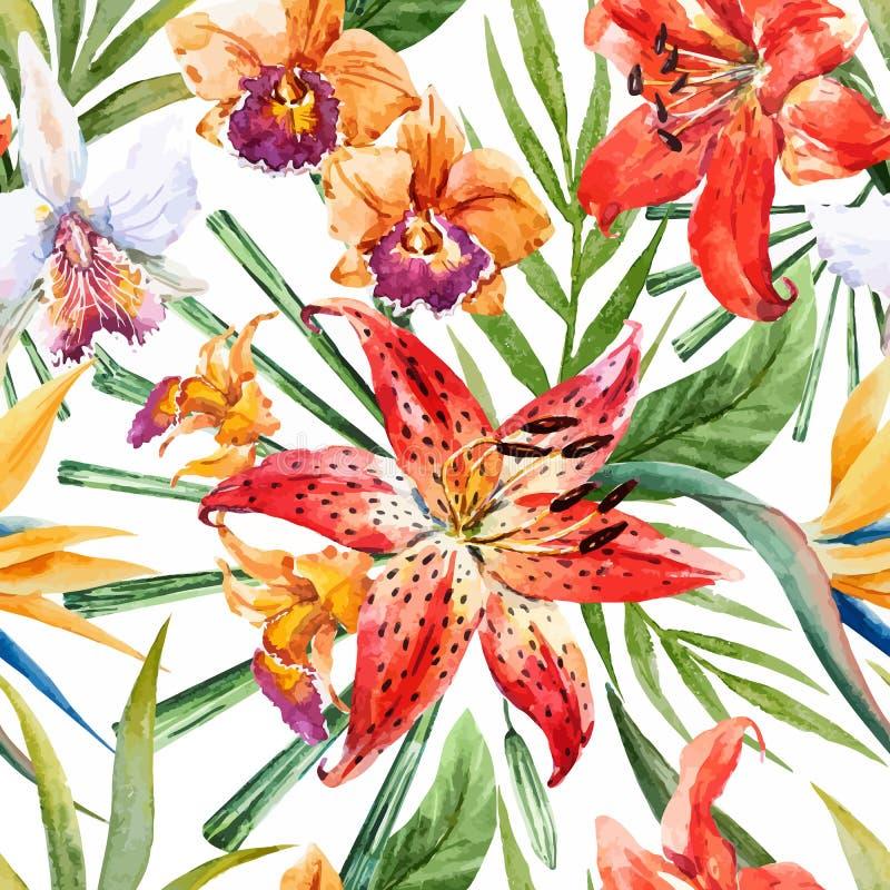 Do vetor da aquarela teste padrão tropical lilly ilustração stock