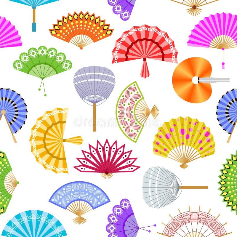 Do vetor de papel do fã da mão teste padrão sem emenda Fãs bonitos chineses ou japoneses Fãs asiáticos coloridos da lembrança ilustração royalty free