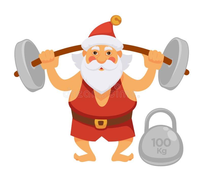 Do vetor diário do personagem de banda desenhada da vida do Natal do barbell do exercício do esporte de Santa ícone liso ilustração stock