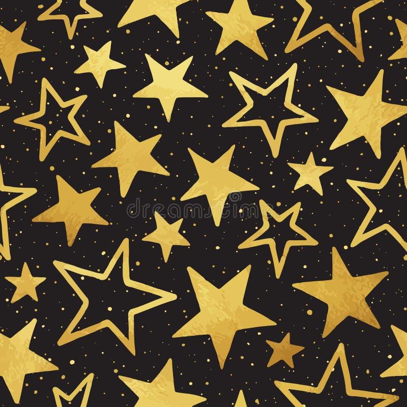 Do vetor dourado das estrelas do estilo da garatuja teste padrão sem emenda ilustração stock