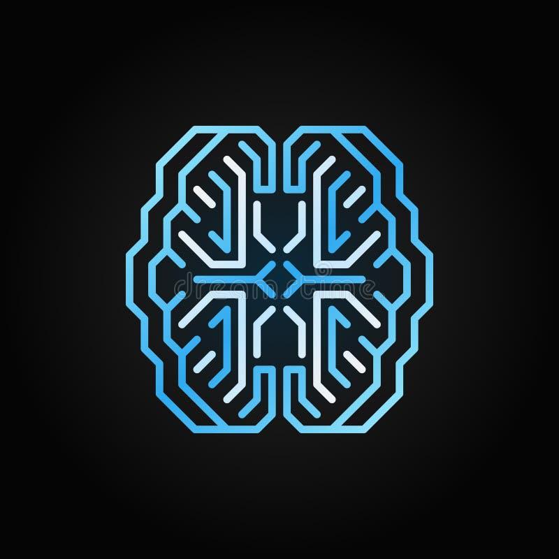 Do vetor esperto do cérebro de Digitas linha azul ícone no fundo escuro ilustração stock