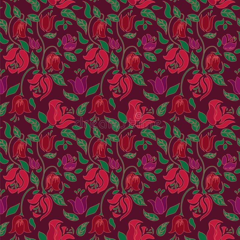 Do vetor floral de matéria têxtil da tulipa e da rosa teste padrão sem emenda vermelho e verde ilustração stock