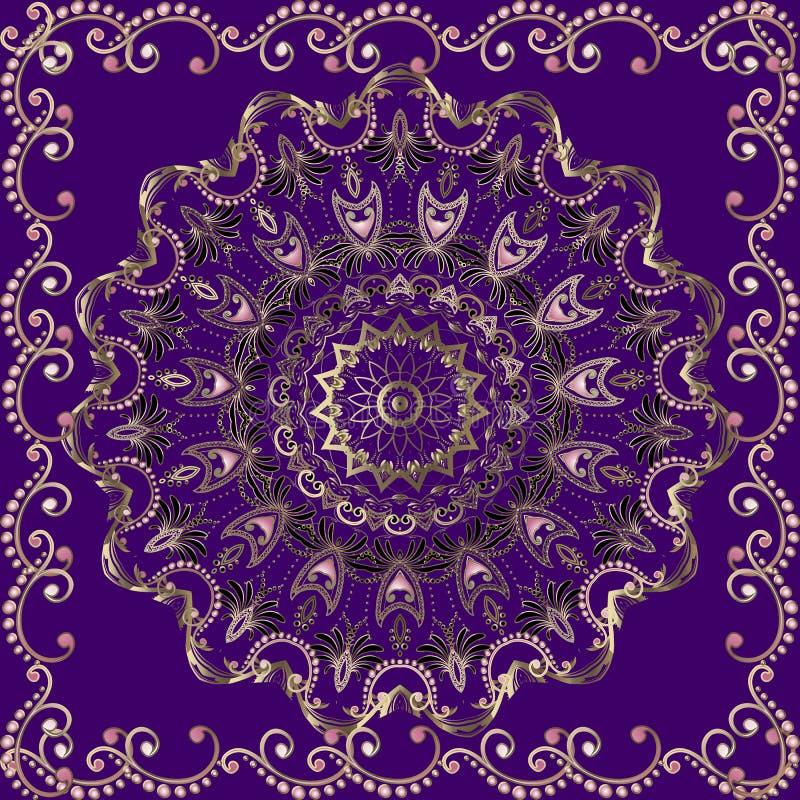 Do vetor floral de Paisley do ouro do vintage teste padrão sem emenda da mandala Fundo violeta decorativo com quadro da elegância ilustração stock