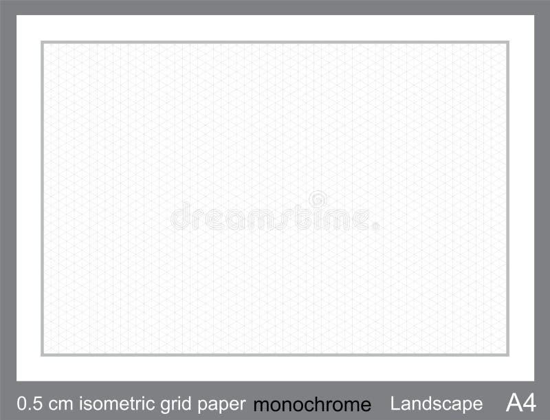 5 do vetor isométrico de papel isométrico da grade da grade do cm A4 gráfico isométrico da grade ilustração royalty free