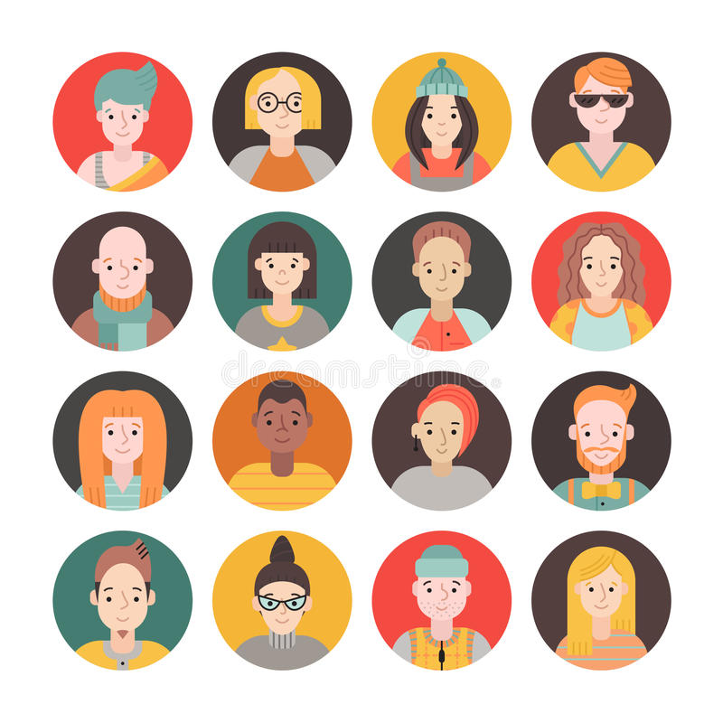 Do vetor liso do ícone do círculo dos povos homens ajustados e mulheres Parte dois ilustração do vetor