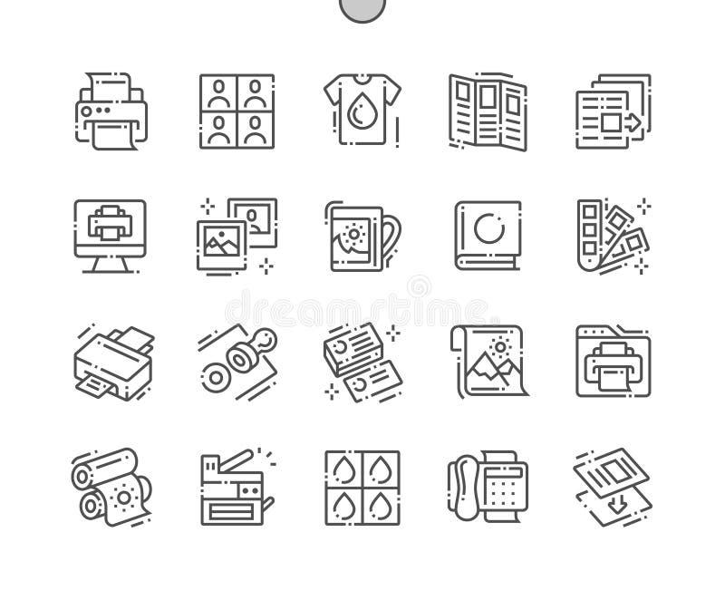 Do vetor perfeito bem feito do pixel da cópia linha fina grade 2x dos ícones 30 para gráficos e Apps da Web ilustração royalty free