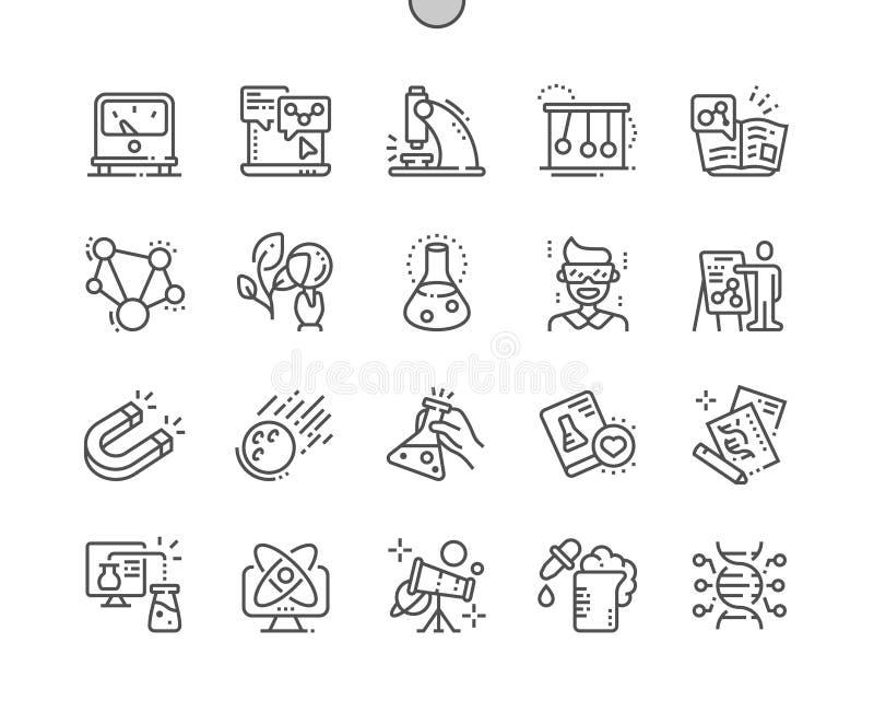 Do vetor perfeito bem feito do pixel da ciência linha fina grade 2x dos ícones 30 para gráficos e Apps da Web ilustração stock