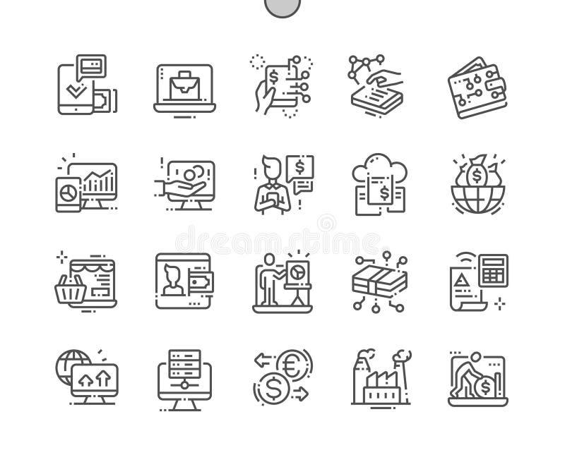 Do vetor perfeito bem feito do pixel da economia de Digitas linha fina grade 2x dos ícones 30 para gráficos e Apps da Web ilustração do vetor