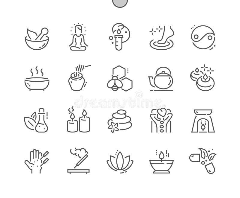 Do vetor perfeito bem feito do pixel da medicina alternativa linha fina grade 2x dos ícones 30 para gráficos e Apps da Web ilustração royalty free