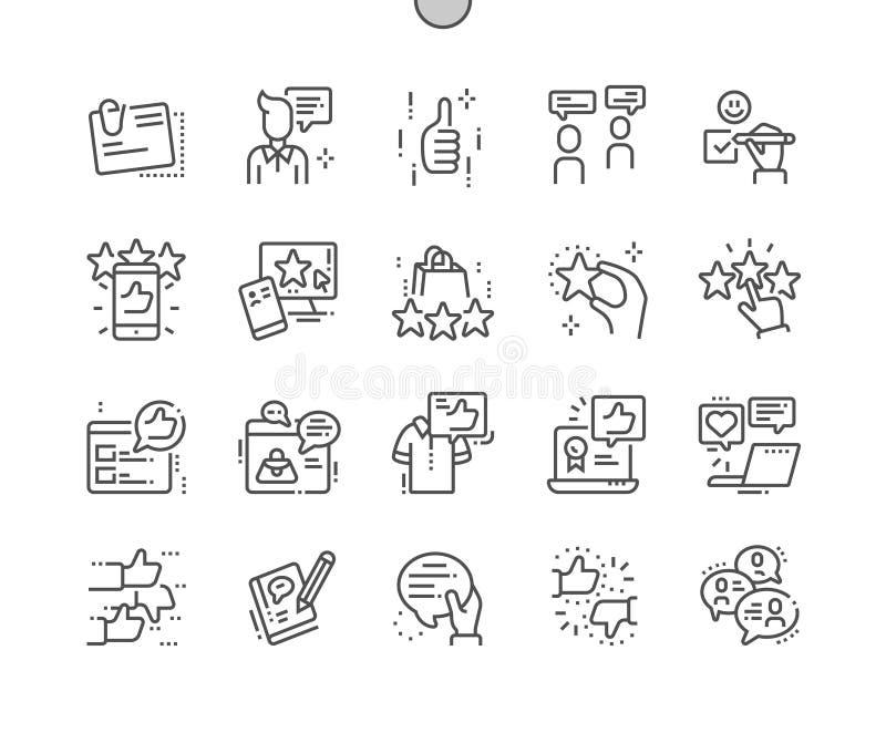 Do vetor perfeito bem feito do pixel das homenagens linha fina grade 2x dos ícones 30 para gráficos e Apps da Web ilustração do vetor