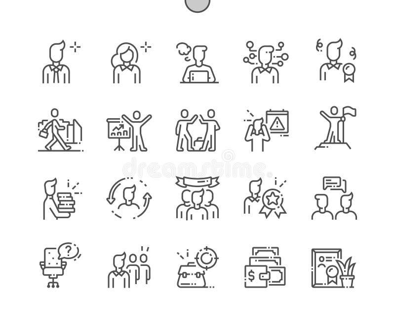 Do vetor perfeito bem feito do pixel dos trabalhadores de escritório linha fina grade 2x dos ícones 30 para gráficos e Apps da We ilustração royalty free