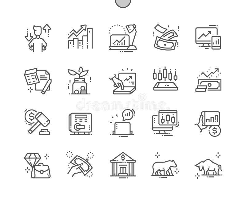 Do vetor perfeito bem feito do pixel do mercado de valores de ação linha fina grade 2x dos ícones 30 para gráficos e Apps da Web ilustração royalty free