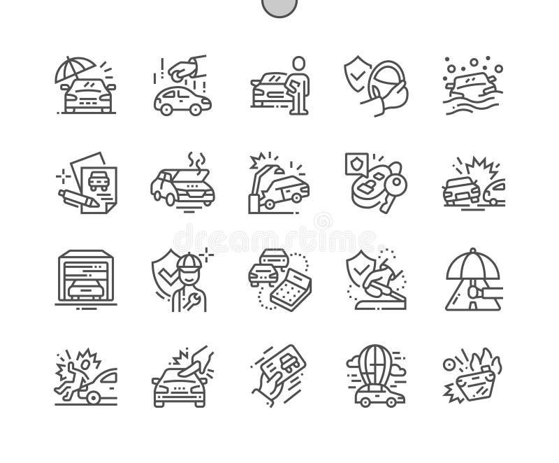 Do vetor perfeito bem feito do pixel do seguro de carro linha fina grade 2x dos ícones 30 para gráficos e Apps da Web ilustração stock