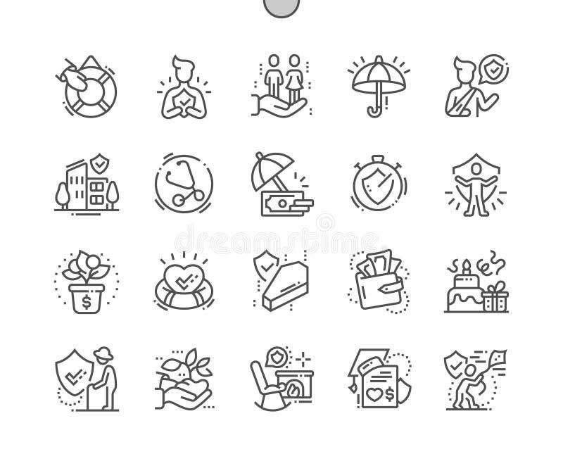 Do vetor perfeito bem feito do pixel do seguro de vida linha fina grade 2x dos ícones 30 para gráficos e Apps da Web ilustração royalty free