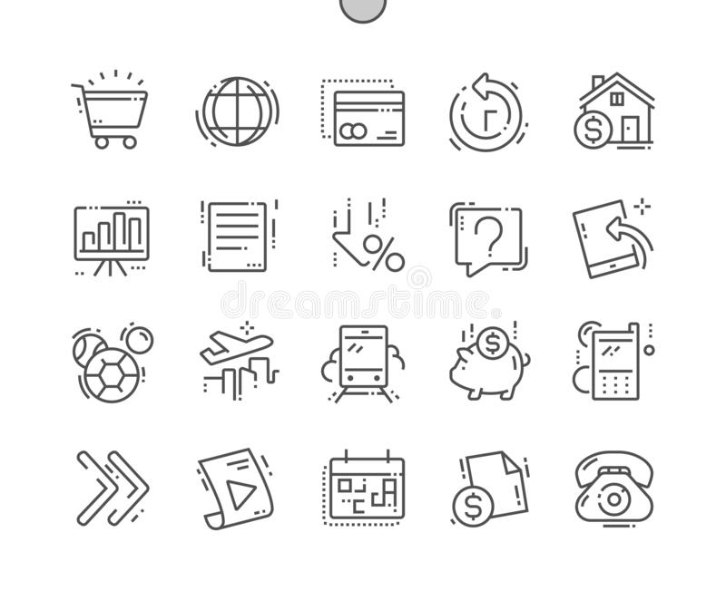 Do vetor perfeito bem feito do pixel do sistema de pagamento linha fina grade 2x dos ícones 30 para gráficos e Apps da Web ilustração royalty free