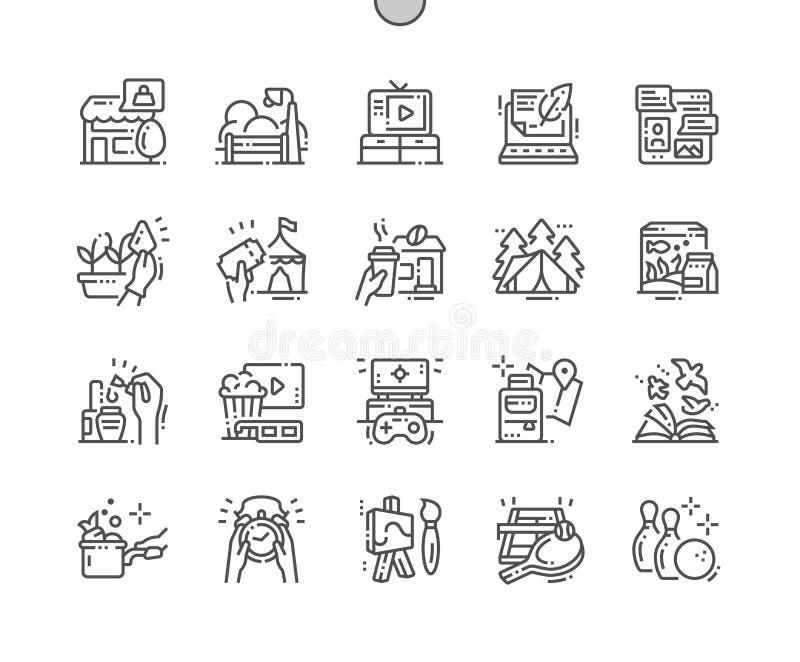 Do vetor perfeito bem feito do pixel do tempo livre linha fina grade 2x dos ícones 30 para gráficos e Apps da Web ilustração royalty free
