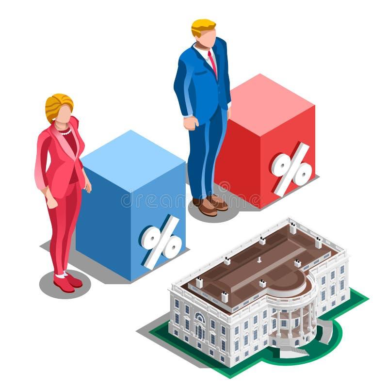 Do vetor presidencial das associações de Infographic da eleição povos isométricos ilustração stock