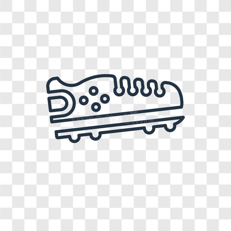 Do vetor preto do conceito da sapata do futebol americano ícone linear isolado ilustração stock