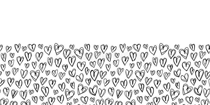 Do vetor preto e branco do dia de Valentim tirado mão dos corações da garatuja beira sem emenda A lápis fundo do desenho ilustração royalty free