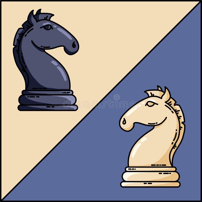 Do vetor preto e branco dos cavaleiros da xadrez imagem lisa do vetor ilustração stock