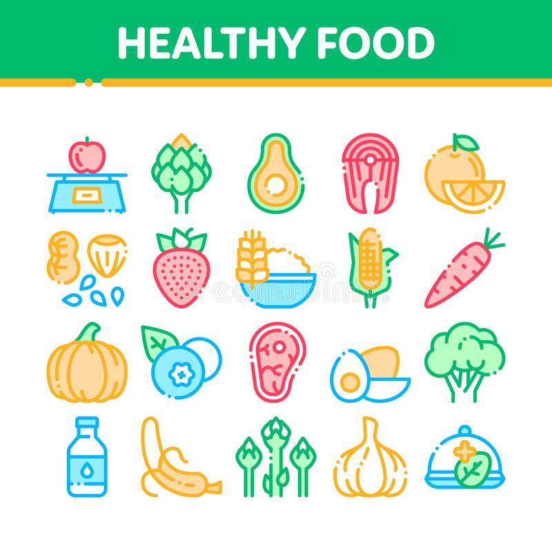Do vetor saudável do alimento da coleção linha fina grupo dos ícones ilustração stock