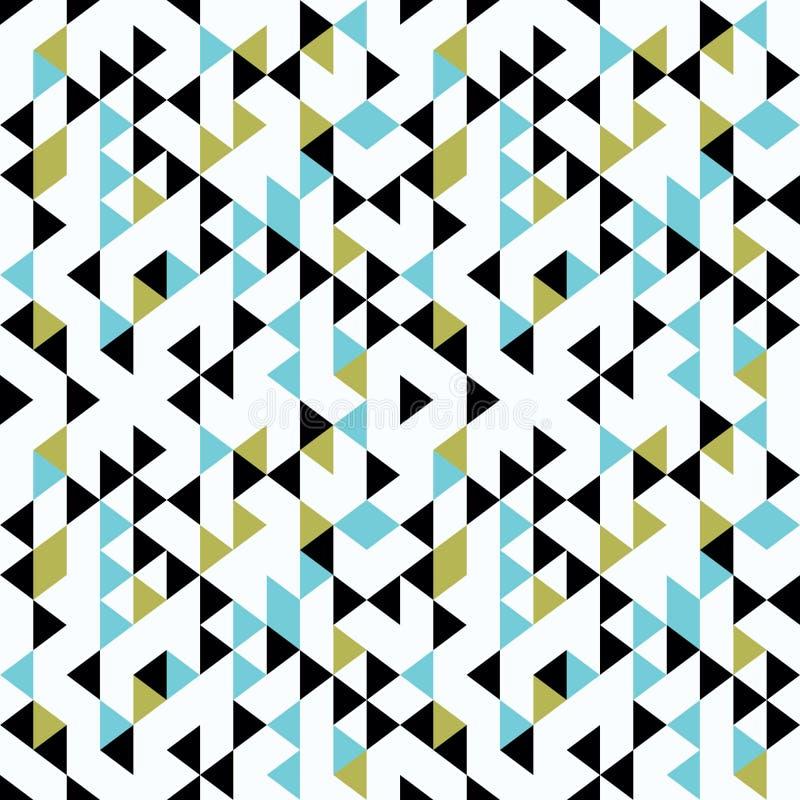 Do vetor sem emenda geométrico do teste padrão do triângulo do sumário estilo multicolorido de memphis 90s ilustração do vetor