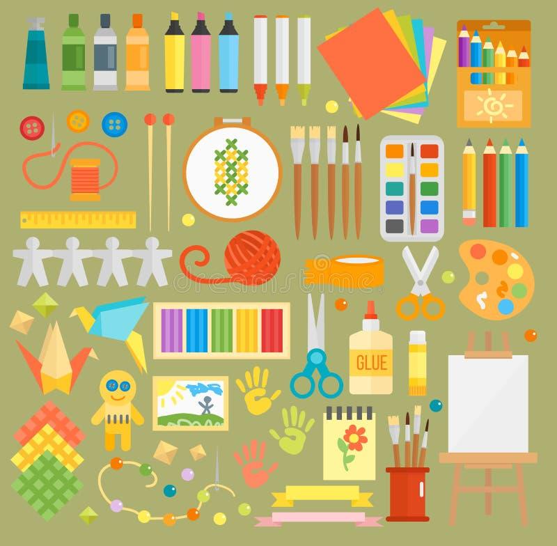 Do vetor sem emenda do teste padrão das etiquetas da arte pena de papel colorida do caderno das escovas de pinturas do desenho do ilustração stock
