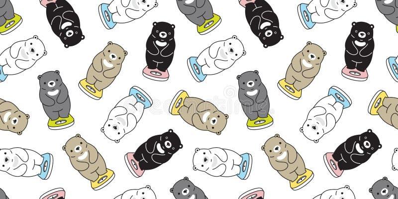 Do vetor sem emenda do urso polar do teste padrão do urso o peso gordo escala o illustr isolado lenço da garatuja do fundo da rep ilustração royalty free