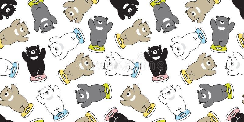 Do vetor sem emenda do urso polar do teste padrão do urso o peso gordo escala o illustr isolado lenço da garatuja do papel de par ilustração stock