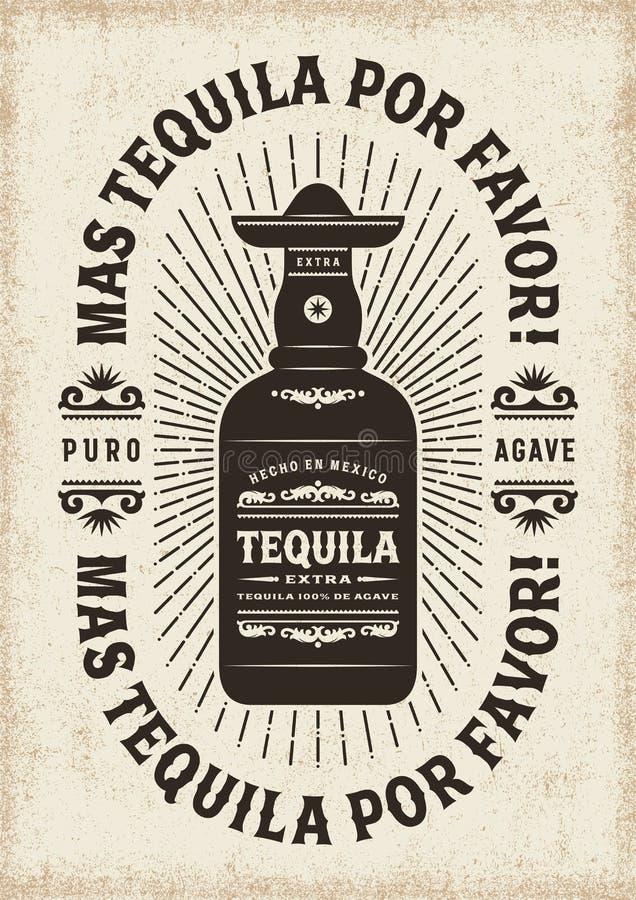 Do vintage de Mas Tequila Por Favor More do Tequila tipografia por favor ilustração stock