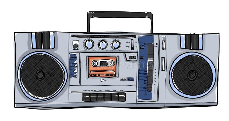 Do vintage estereofônico do rádio de Boombox do vetor ilustração handdrawn ilustração royalty free