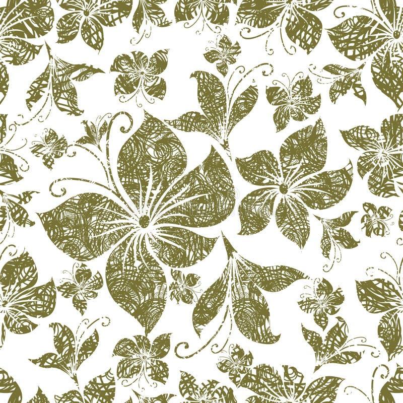 Do vintage sem emenda do grunge do vetor teste padrão floral ilustração royalty free