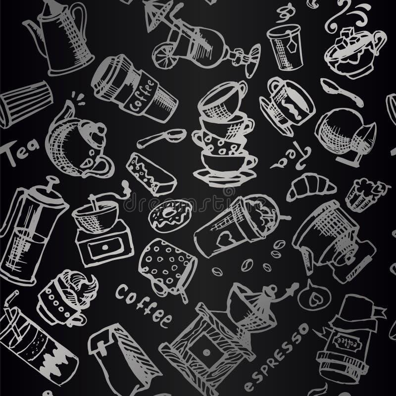 Do vintage sem emenda do ornamento do vetor do café illustra preto e branco foto de stock royalty free