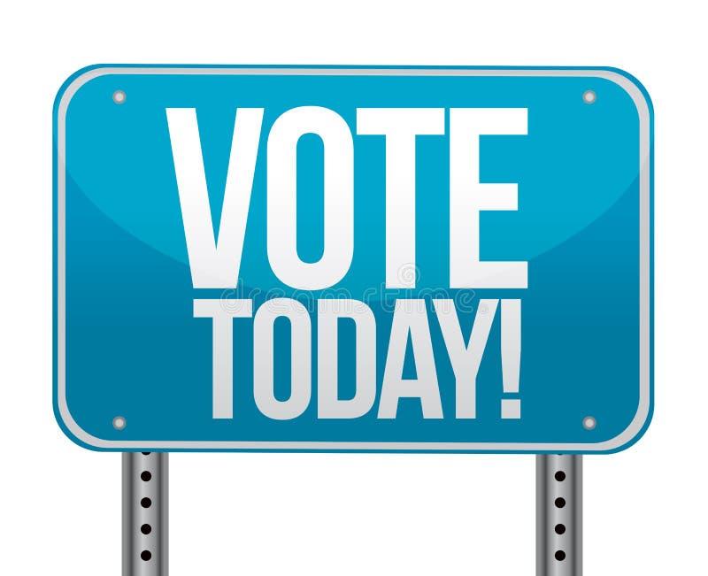 Do voto sinal azul hoje ilustração stock
