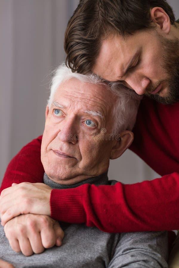 Do widzenia między ojcem i synem zdjęcie stock