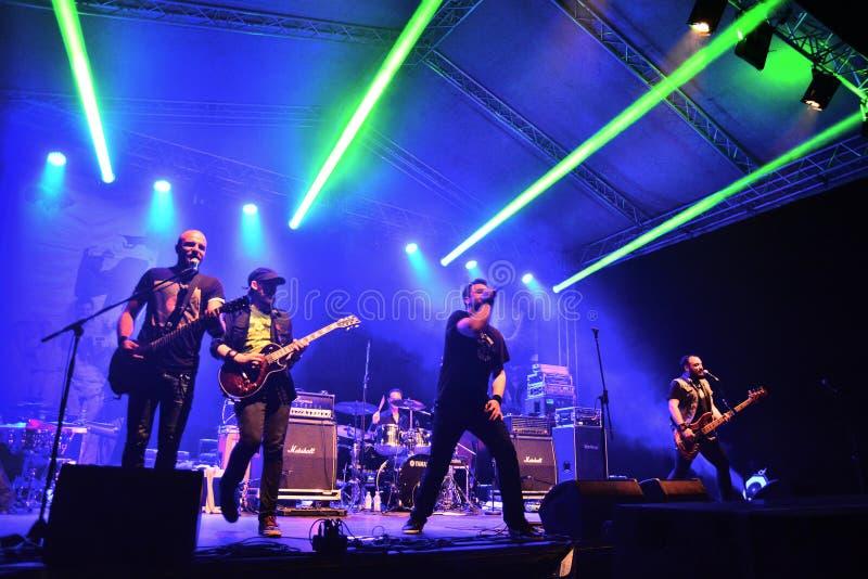 Do widzenia spoważnienie zespół rockowy żywy na scenie fotografia royalty free