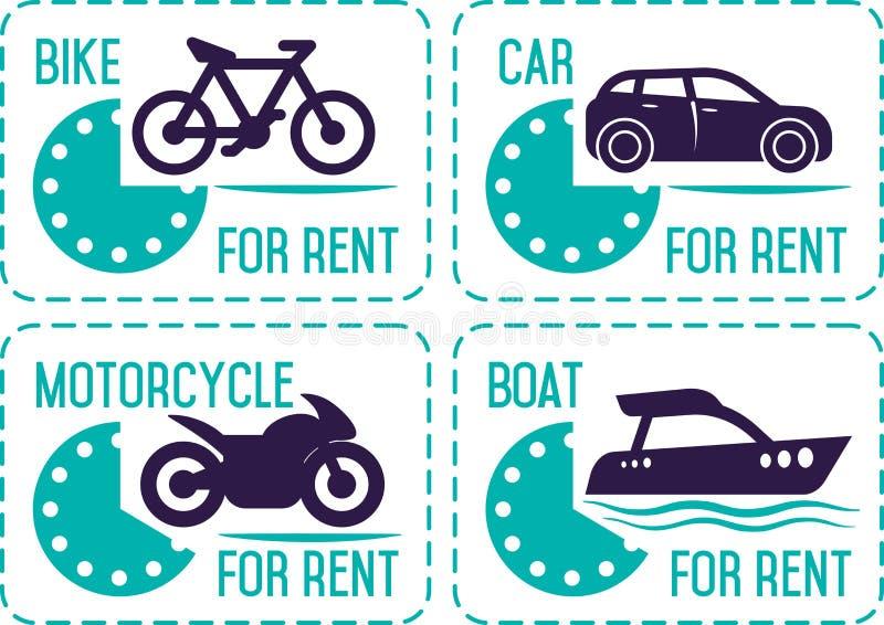Do wynajęcia samochód i inny transportów sztandary ilustracja wektor