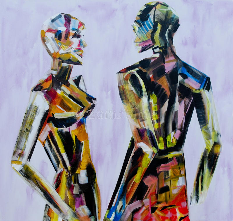 Do you come here often, Painting of mannequin,robotic style models interacting. vector illustration
