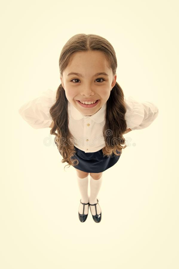 Do you like my hairstyle. Schoolgirl pupil long curly hair. Cute hairstyles make you shine on first week back in school. Gorgeous tails perfect for every day royalty free stock photography