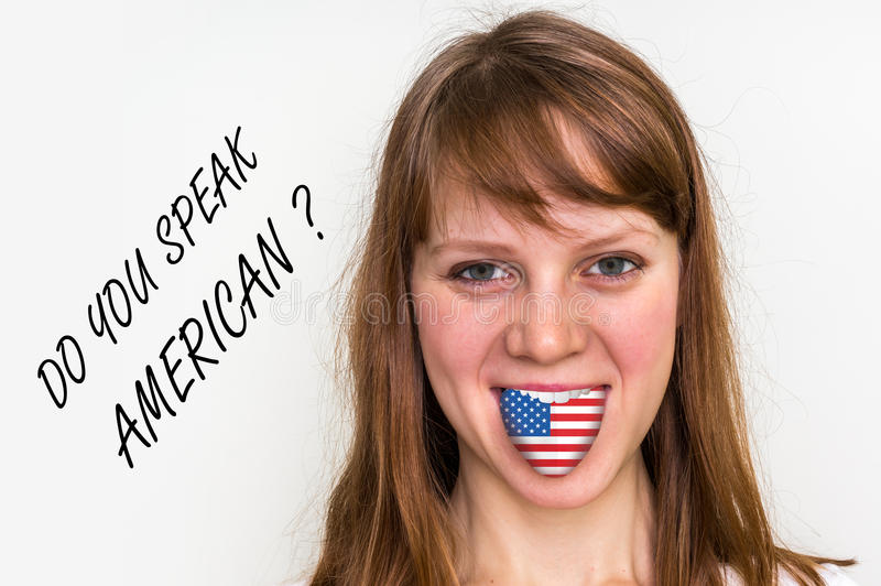 Do you speak American? Woman with flag on the tongue. Isolated on white background royalty free stock photography