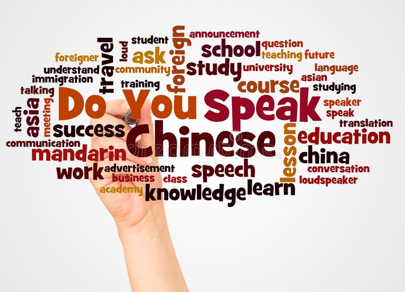 Do You Speak Chinese word cloud and hand with marker concept stock images