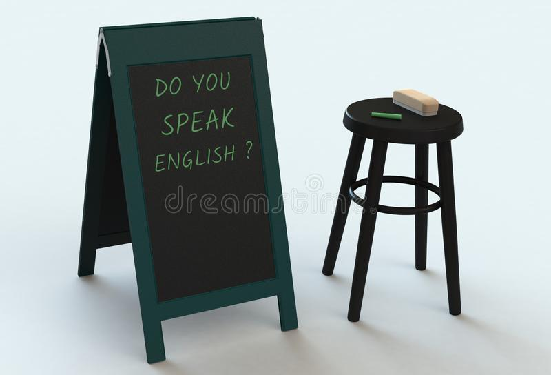 DO YOU SPEAK ENGLISH, message on blackboard. 3D rendering stock illustration