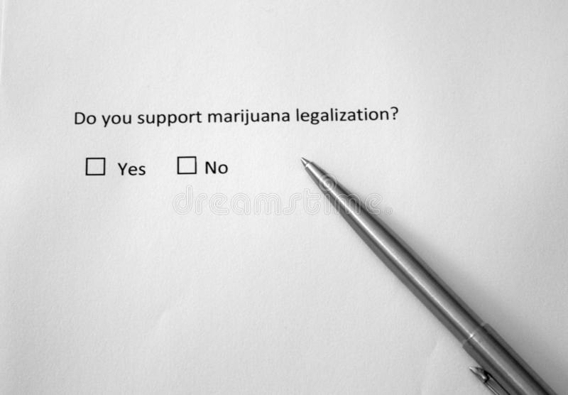 Do you support marijuana legalization? Yes or no. Controversial question about cannabis use stock images