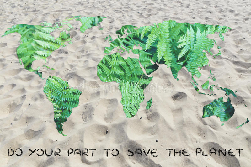Do your part against desertification: world with sand instead of. Do your part to save the planet from desertification: world map with sand background (no water stock photography
