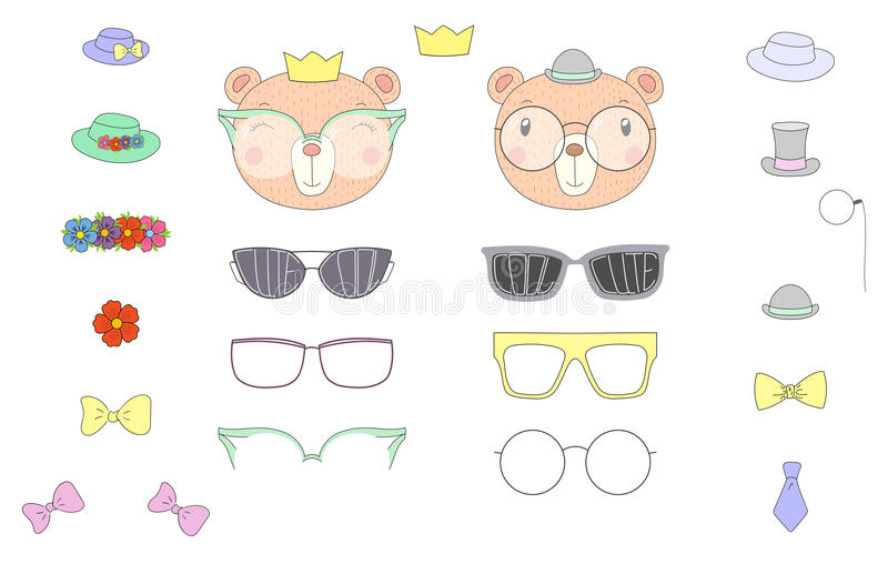 Do it yourself bear heads with glasses and accessories royalty free stock image