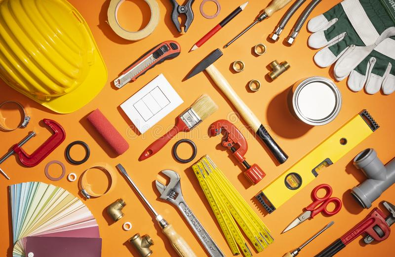 Do it yourself and home renovation tools royalty free stock photo