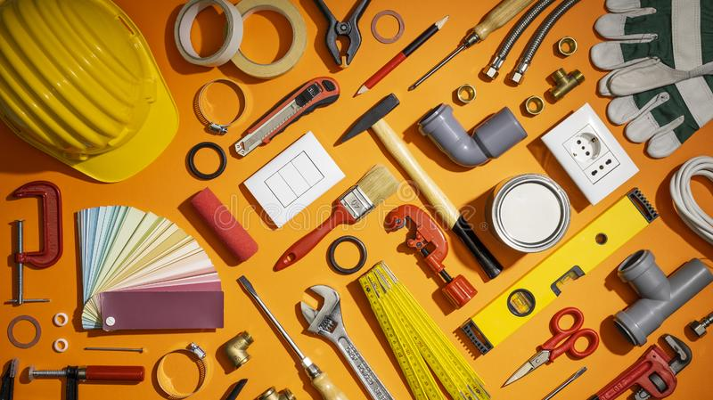 Do it yourself and home renovation tools royalty free stock photos