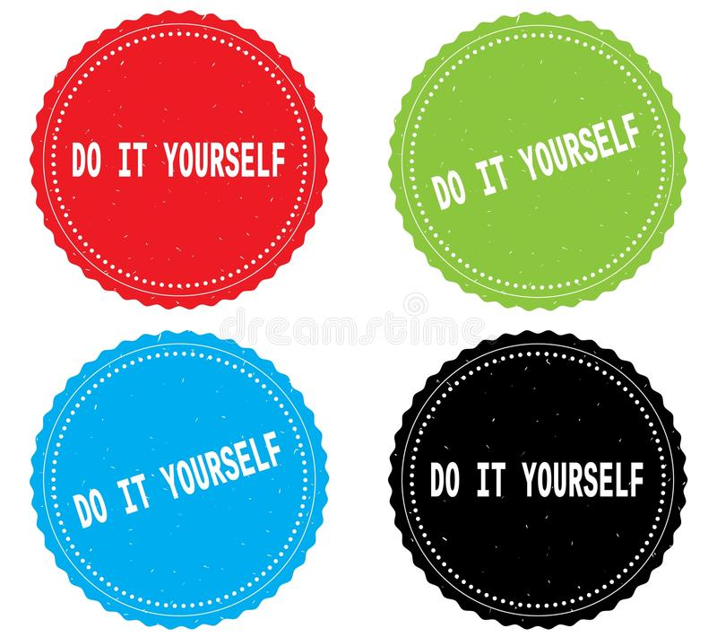 Do it yourself text on round wavy border stamp badge stock do it yourself text on round wavy border stamp badge in color set solutioingenieria Gallery
